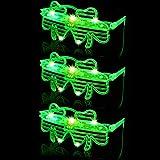 Chuangdi 聖パトリックの日用メガネ LED眼鏡 シャムロックコスチュームメガネ 3モード照明 大人 子供 パーティー用 Chuangdi-glasses-1