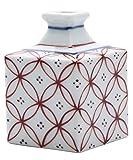 砥部焼 花瓶 梅山窯 一輪挿し 小 赤宝つなぎ 約5×5×8cm