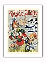 プレイスクリシーで - パリ、フランス - ニースの花束 - ビンテージな広告ポスター によって作成された レネ・ピエン c.1890s - プレミアム290gsmジークレーアートプリント - 30.5cm x 41cm