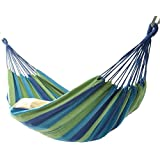 ハンモック2人用 ベッド部:長さ 約200×160cm/全長:約320cm ブルー系マルチカラーストライプ