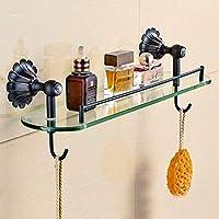 シャワー棚ウォールマウントすべてブロンズブラックブロンズ化粧品スタンドシャワー棚ヴィンテージ収納ガラスガントリー棚ガラスシャワー棚簡単にきれいに (色 : C)