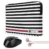 Vangoddy Luxe R Series 15.6 Inch Black White Stripe Padded Carrying Sleeve for Acer Chromebook 15 | Aspire 2016 | V15 | V Nitr..