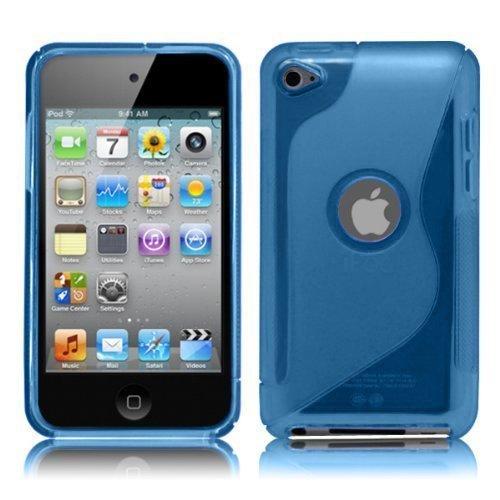 iPod Touch4 TPU Sデザインソフトケースカバー 液晶保護フィルム&クリーナー1セット付属 ブルー(青)の詳細を見る