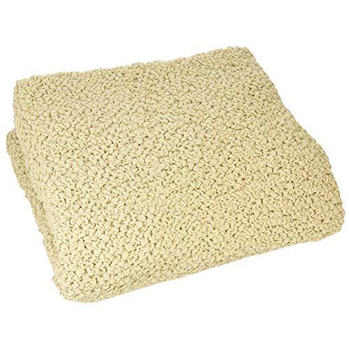 セシール 座椅子カバー アイボリー M 綿混 ジャカード織 のびてフィット 縦横ストレッチ CP-874