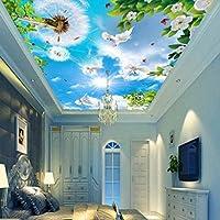 Wxmca 壁紙3 D青空タンポポ白鳩の葉緑緑天井壁画リビングルームホテルレストラン天頂壁紙-150X120Cm