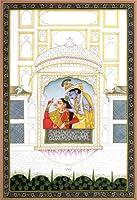 Krishna Combing Radhasヘア–水カラーPainting on Paper–アーティスト: Kailash Raj