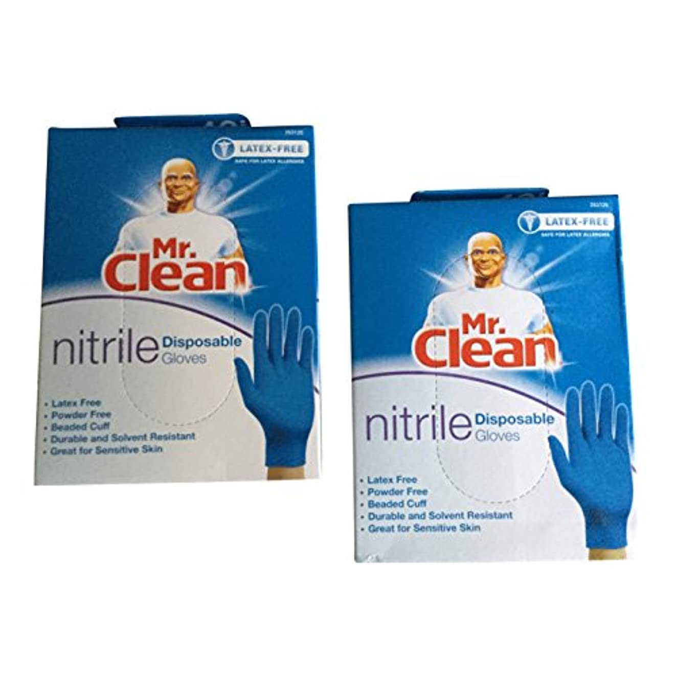 刺すアライアンス適度なMr. Clean Nitrile Disposable Gloves Latex Free & Powder Free (40 Gloves Per Box) by Mr. Clean