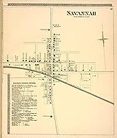Historic 1874マップ|サバンナ[村] ;サバンナビジネスNotices。|アンティークヴィンテージマップReproduction 36in x 44in 5126240_3644