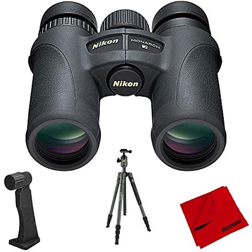 神経衰弱豪華な朝Nikon Monarch 7 双眼鏡 10x30 (7580) ボールヘッド付きヴァンガードアルミニウムトラベル三脚 デコマウント双眼鏡三脚アダプター&デコギア6 x 6インチマイクロファイバークリーニングクロス付き