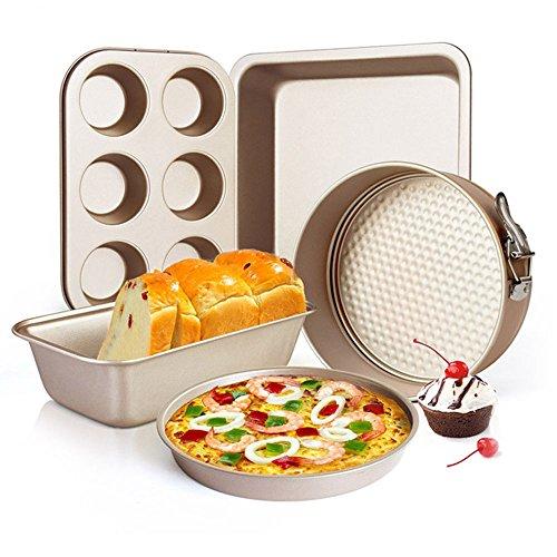 5点セット ケーキ型 パン型 ピザプレート クッキー型 炭素鋼素材 焼くケーキ金型 マフィンカップ トースト耐熱皿 ベーキング ツール オーブン 電子レンジ専用 お菓子作り キッチン 家庭製菓用品 (シルバー)