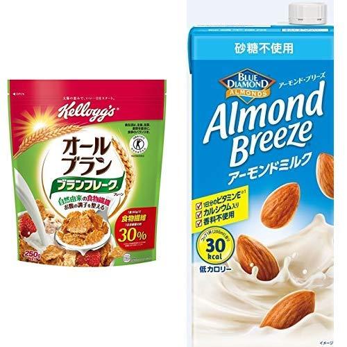 【セット買い】[トクホ] ケロッグ ブランフレーク プレーン 250g×6袋 + アーモンド・ブリーズ 砂糖不使用 1L×6本