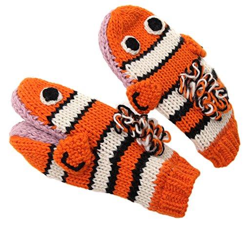 手袋/レディースメンズ 手袋/編みぐるみアニマルハンドグローブパペット人形ミトン手袋(白灰色男女兼用大人おしゃれショッピングファッションウィンタースポーツ通販男性女性ビジネ) オレンジ gglo0060-or