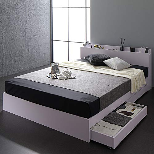 ベッド 収納付き セミダブル ホワイト ベッドフレーム ボンネルコイルマットレス付き ハイクオリティモダン 木製ベッド キャスター付き 引き出し付き 宮付き コンセント付き