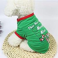 FidgetGear クリスマスのトナカイ犬のセーター冬暖かいペットシャツ子犬猫服ペット 緑しよう