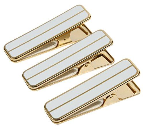 ≪着付け用≫ きものクリップ ハンディクリップ 真鍮製 日本製 (白・大3個セット)