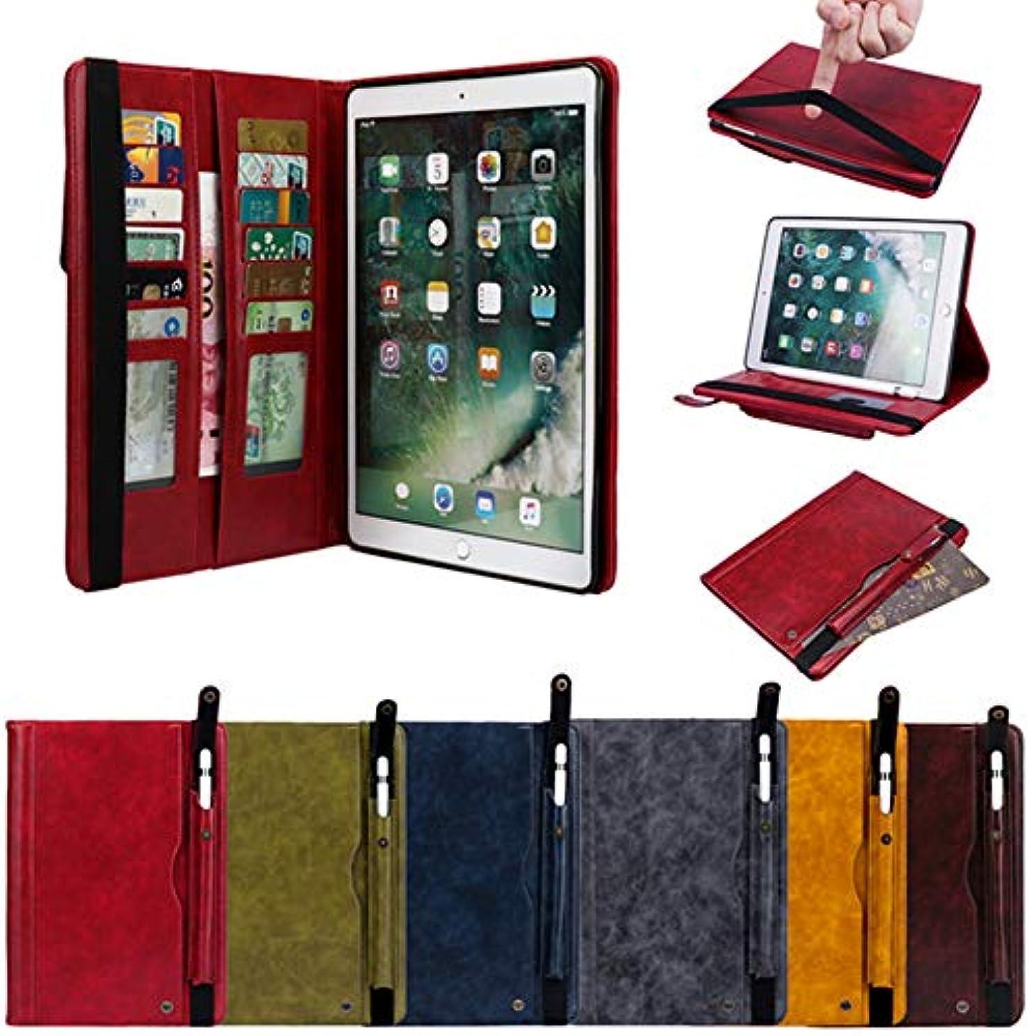 会計士良いブラケットApple Pencil ペンシル 収納 iPad アイパッド 2018 9.7インチ iPad 6 iPad 5 iPad Pro9.7 iPadAir/Air2 ケース バンド付き 大容量 2列カード収納 お札入れ 小物入れ 9.7インチ アイパッド 6 5 エア エア2 プロ9.7 レザーケース (iPad6/iPad5/iPadPro9.7/iPadAir/Air2兼用, ブラウン)