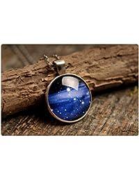 天の川のペンダント、銀河ペンダント、アンティーク真鍮ペンダント、ガラスドームペンダント、アンティーク真鍮製のネックレス、銀河のネックレス、天の川のネックレス