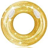 Gizaniton浮輪 浮き輪 大人用 子供用 浮輪100cm 便利に携帯 浮き輪大きい 厚 ビーチ 海水浴 夏休み レジャー用品 レディース メンズ  取っ手付き 金色