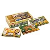 Melissa & Doug Wild Animals 4-in-1 Wooden Jigsaw Puzzles
