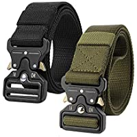 2 Pcs Mens Tactical Belt Canvas Military Belt with Quick Release Buckle Nylon Heavy Duty Waist Belts