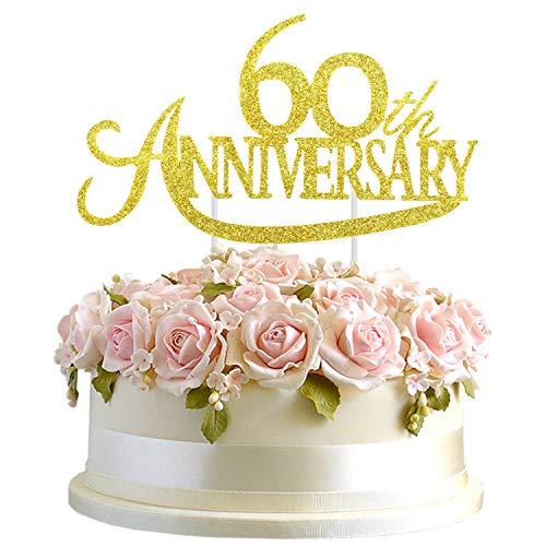 Junucubo ゴールドグリッター 60周年記念 ケーキトッパー ゴールドグリッター 60周年応援サイン 60歳の誕生日パーティー/結婚記念日パーティーデコレーションアイデアサプライ