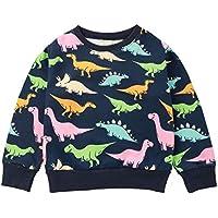 Kikibaby Toddler Girl Crew Neck Cotton Cute Cartoon Pullover Sweatshirt The Dinosaur 2-7T