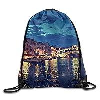 夜のヴェネツィアのリアルト橋ユニセックスホームリュックサックショルダーバッグ旅行巾着バックパックバッグ