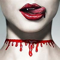 ハロウィーン 小道具の宝石類 不規則な血痕のネックレス