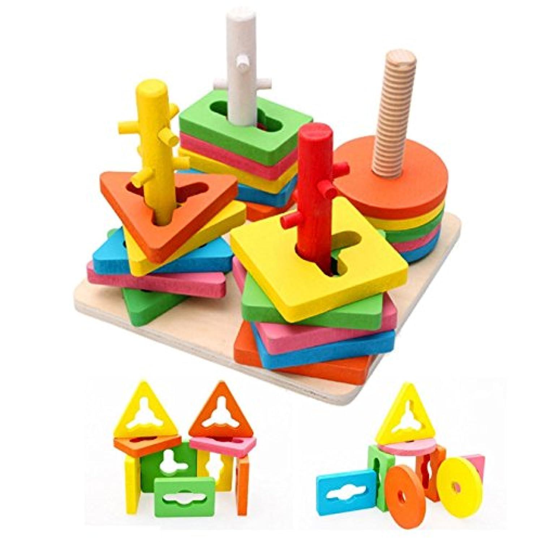 Itian 形合わせ 型はめ 木製 カラフル 幾何認識 木のおもちゃ 知育玩具 赤ちゃん 幼児 子供 おもちゃ