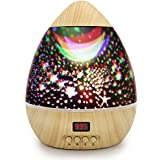 Star Projector Night Light, Wood Grain LED Bedroom Light Projector with 5-995 Minutes Timer Auto-Shut Off, Colorful Star Rotating Lamp for Baby Kids by DCAUT