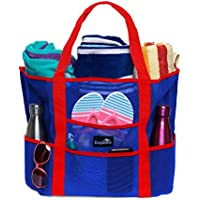 Dejaroo Mesh Beach Bag - Toy Tote Bag - Large Lightweight Market, Grocery & Picnic Tote with Oversized Pockets