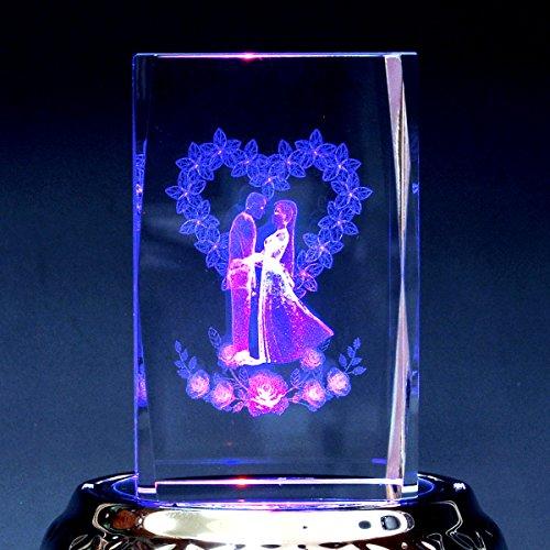 3Dクリスタル オルゴール LEDライト付き 絵柄:ウエディ...