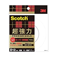 (まとめ) 3M スコッチ 超強力両面テープ プレミアゴールド (スーパー多用途) 12mm×4m SPS-12 1巻 〔×5セット〕