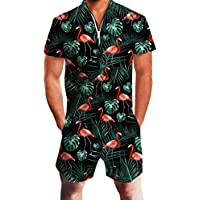 UNIFACO Mens Printed One Piece Short Sleeve Zipper Short Pants Jumpsuit Rompers Overalls w/Pocket Casual Style