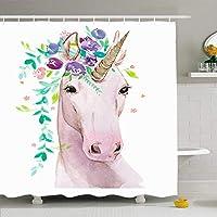 浴室用シャワーカーテン72x78支店カラフルなアクアレルユニコーンの花白い動物に水彩画野生動物の女の子ピンクの赤ちゃんの美しさ防水ポリエステル生地のバス装飾セットフック付き 200X180 CM