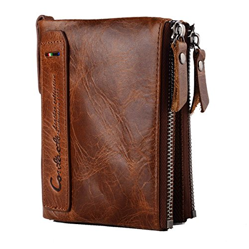 HollyRobin 二つ折り 財布 メンズ 本革 柔らかい コインケース 免許証 入れ カード入れ7ヶ所 丈夫 (ブラウン)