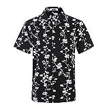 アロハシャツ メンズ 半袖 軽量 ハワイ風 プリントシャツ 通気速乾 夏 オシャレ ウェディング 和柄シャツ 034ボタニカル 日本L(US M)