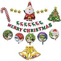 クリスマス アルミ風船 不織バナー ガーランド クリスマスツリー バルーン サンタ エルク パーティー 結婚式 ショップ 雑貨 飾りセット 接着糊付ける(17点)