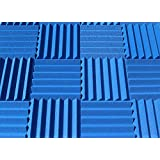 Soundproofing Acoustic Studio Foam - Blue Color - Wedge Style Panels 12'x12'x2' Tiles - 4 Pack