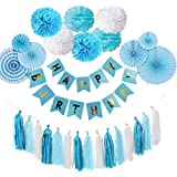 Formemory 誕生日 飾り付け ガーランド バースデー デコレーション HAPPY BIRTHDAY セット パーティー 装飾 ペーパーファン タッセル ギフト 男の子 女の子 大人 プレゼント (ブルー)