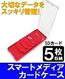 スマートメディア カードケース Cardclip SD カード 5枚 (レッド)