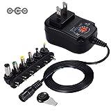 Punasi チャージャー 3V-12V 電圧調整 DCアダプター ユニバーサル AC充電器 ACアダプター メデラ パンプ スピーカー LEDライト ルーター ケーブルセット (12w)コネクタの極性:インナーマイナス(ー)、アウタープラス(+)