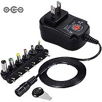 Punasi チャージャー 3V-12V 電圧調整 DCアダプター ユニバーサル 変換プラグ AC充電器 ACアダプター メデラ パンプ スピーカー LEDライト ルーター ケーブルセット (12w) コネクタの極性:インナーマイナス(ー)、アウタープラス(+)