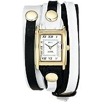 La Mer Collections Women's LMLWMIX002 White Black Mix Layer Bracelet Wrap Watch
