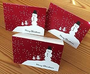 スノーマンのミニクリスマスカード3枚セット 105x74mm 二つ折り 中無地 封筒つき