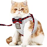 【Tona】猫ハーネス 犬ハーネス 猫 ベスト 胸あて式 牽引ロープ ハーネス リード セット 首輪 胴輪 チェック柄 蝶結び 散歩 通気性が抜群 簡単脱着式 引っ張り防止