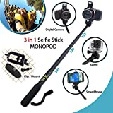 Xtech? Premium 3 in 1 Handheld MONOPOD Pole for DIGITAL Cameras, SMARTPHONES and GoPro Cameras including NIKON COOLPIX AW130, ..