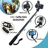 Xtech? Premium 3 in 1 Handheld MONOPOD Pole for GoPro HERO Cameras, SMARTPHONES and Digital Cameras including Nikon Coolpix L8..