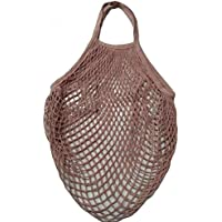 Refaxi 再利用可能なショッピングストリング食料雑貨バッグショッパーコットンメッシュネット織バッグ(ピンク)
