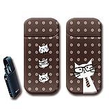 Tiara iQOS アイコス シール 猫 ドット ネコ メガネ ネクタイ アイコス スキンシール 裏表2枚セット ねこ12 [i022201_04] おしゃれ カバー オリジナルデザイン カスタム 保護フィルム iQOS専用 シール デコ